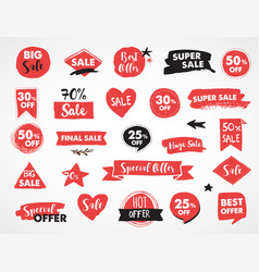 super sale modern hand drawn stickers and labels vector image