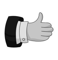 Thumb up icon in monochrome style isolated on vector