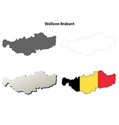 Walloon Brabant outline map set - Belgian version vector