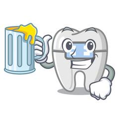 With juice braces in a cartoon shape vector