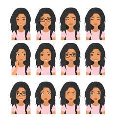 woman with black brown hair and emotions user vector image