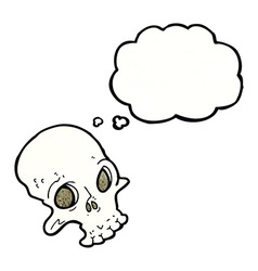 cartoon spooky skull with thought bubble vector image