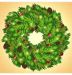 Christmas wreath with cones and holly berry vector image