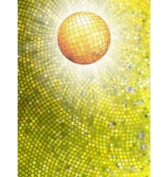Gold disco ball on burst with mosaic detail EPS 8 vector image vector image
