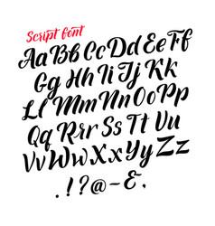 handwritten latin alphabet cursive black letters vector image