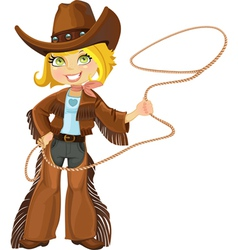 Blond cowgirl with Lasso vector image