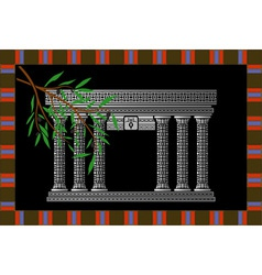 fantasy phoenician temple and olive branch vector image
