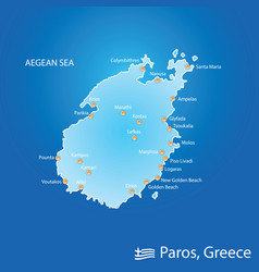 Island of paros in greece map in colorful vector