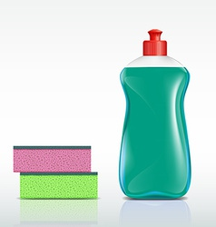 plastic bottle with detergent and sponge vector image vector image