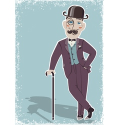 Vintage gentleman in black bowler hat vector image