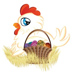 White Hen with Easter Eggs Basket vector image vector image