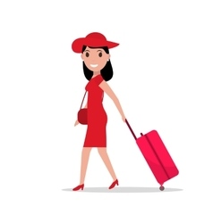 cartoon fashion woman with travel luggage vector image vector image