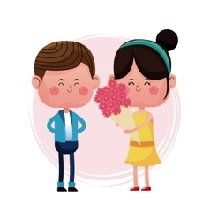 girl with bucket flowers and boy vector image vector image