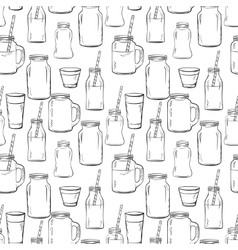 Glass bottles sketches pattern vector image
