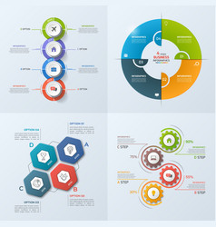 set of 4 infographic templates with 4 options vector image vector image