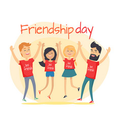 best friends spend fun time friendship day flat vector image
