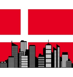 City and flag of Denmark vector image vector image