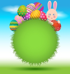 Colorful eggs and bunny on green grass for Easter vector image