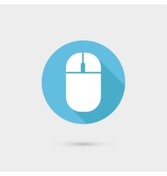 Computer mouse icon Flat design long shadow vector image