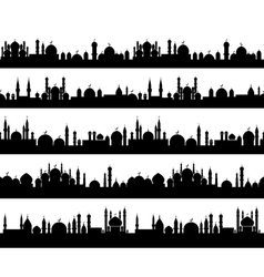 Islamic cityscape silhouettes vector image