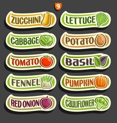 set labels for vegetables vector image