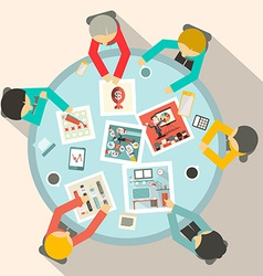 Top View Business Meeting Around Circle Table vector image vector image