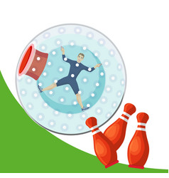 a man rolling down mountain in zorbing sphere vector image