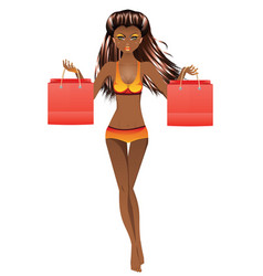 afro american girl in swimsuit vector image