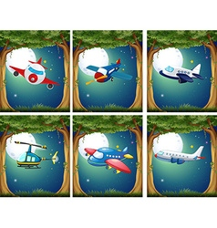 Airplanes and copters flying at night vector