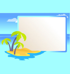 Alone island with palms and copy space color card vector