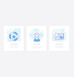 astrology concept - line design style banners set vector image