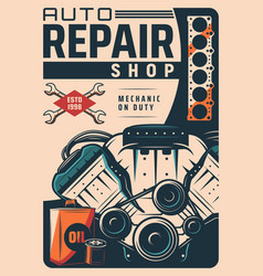 Auto repair service shop vintage poster vector