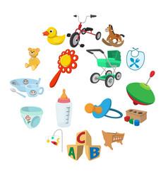 bacartoon icons set vector image