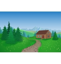 Beautiful Landscape With House vector image