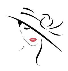 beautiful stylish in hat logo vector image