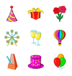 birthday party icon set cartoon style vector image