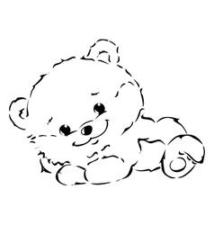 Black outline cute bear vector