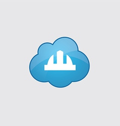 Blue cloud construction helmet icon vector