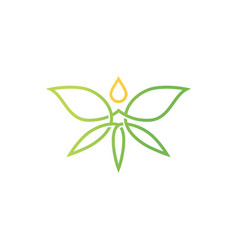 cannabis butterfly drop logo icon vector image