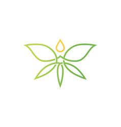 Cannabis butterfly drop logo icon vector