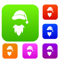 cap with pompon of santa claus and beard set vector image