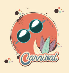 carnival feather hat and sunglasses vector image