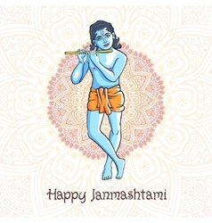 Cartoon krishna with a flute greeting card vector