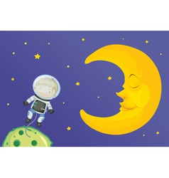 Cartoon of boy with moon vector