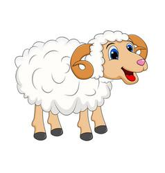 Cartoon white ram design isolated on white vector