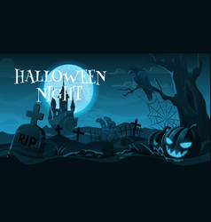 cemetery or graveyard halloween night holiday vector image