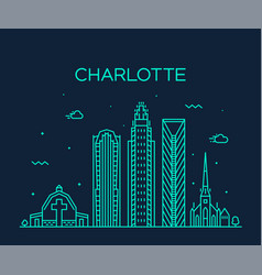 Charlotte city skyline north carolina usa vector