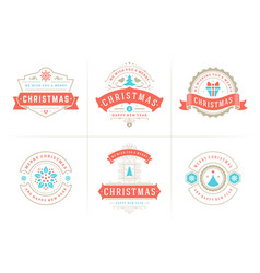 christmas typography ornate labels and vector image
