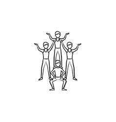 circus artists making a pyramid hand drawn icon vector image