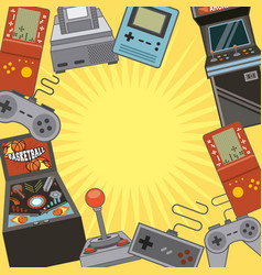 Classic videogames and console entertainment icons vector